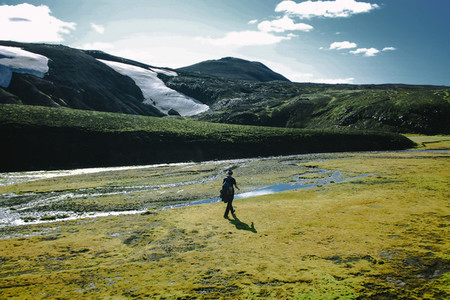 Hiking in Landmannalaugar  mountain landscape in Iceland