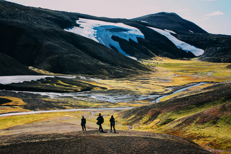 Hiking in Landmannalaugar  mountain landscape with snow in Iceland