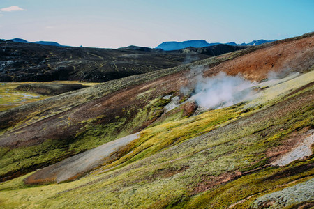 Landscape with moss in Iceland  Mountain tourism and volcanic area