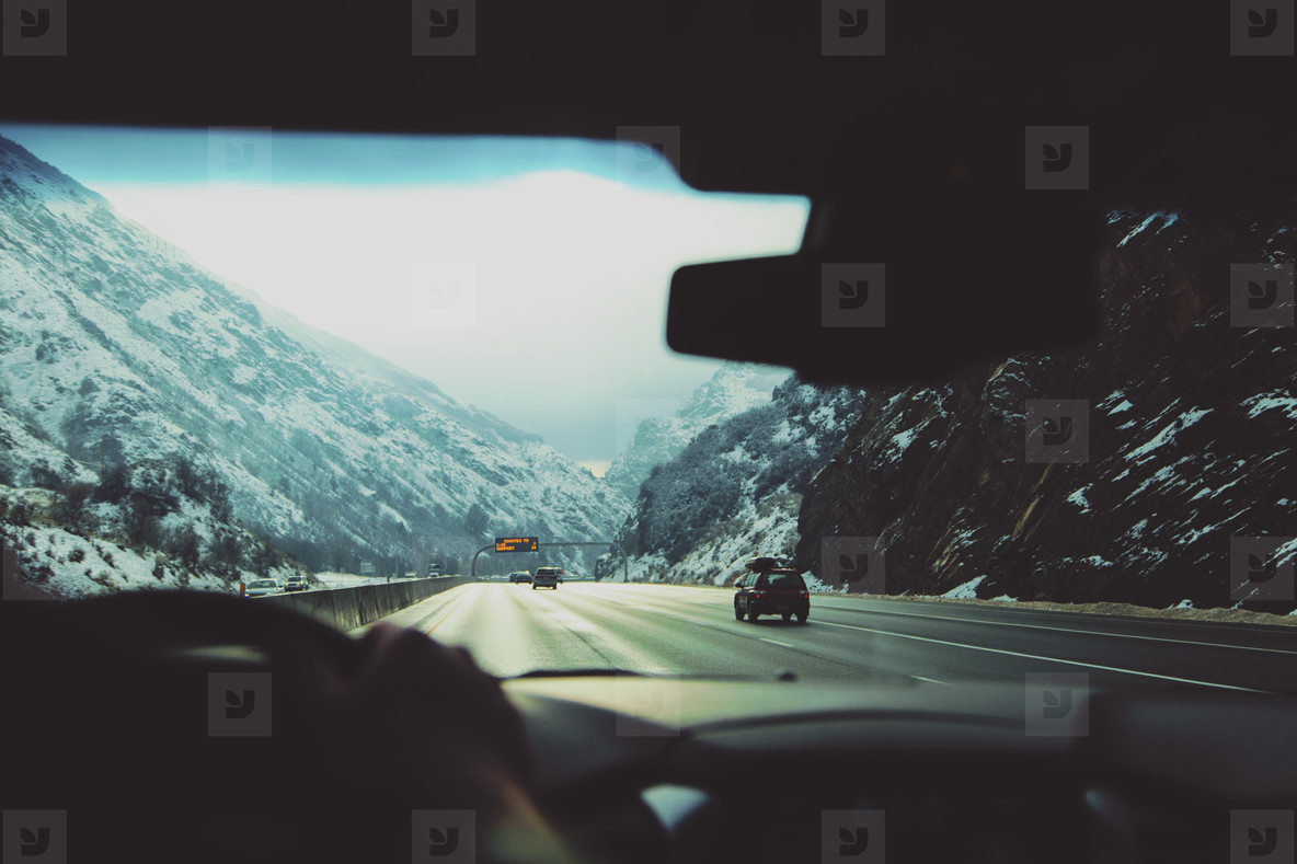 Driving through mountains