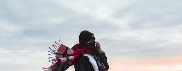 Girl in wind with scarf