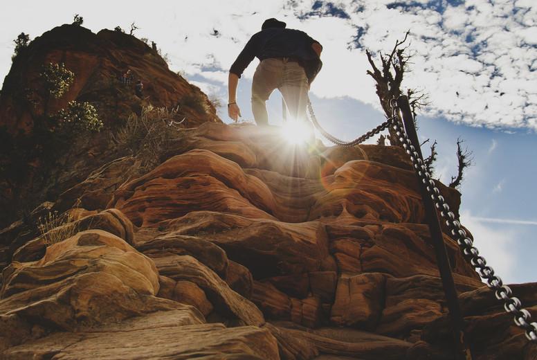 Man hiking mountains  002