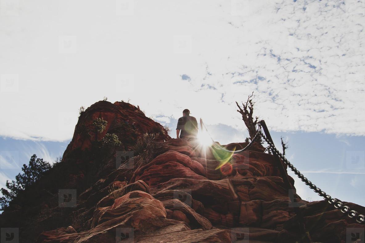 Man hiking mountains  001