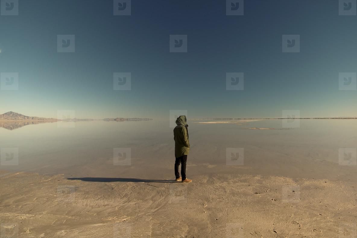 Man on salt flats  002