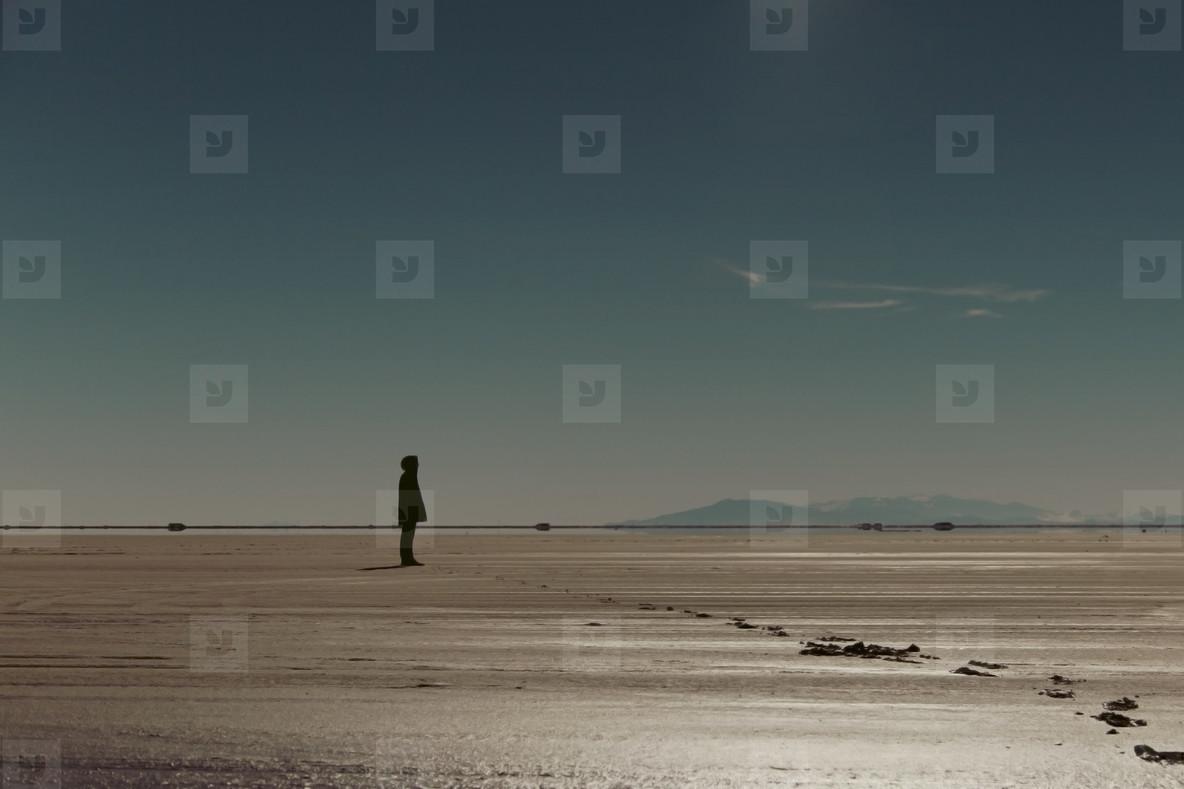 Man on salt flats  001