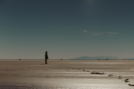 Man on salt flats  001