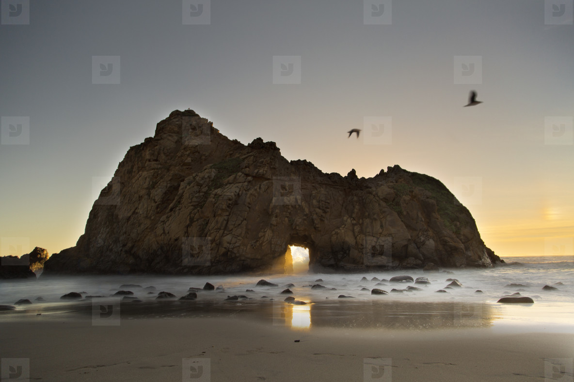 Pfeiffer beach at sundown