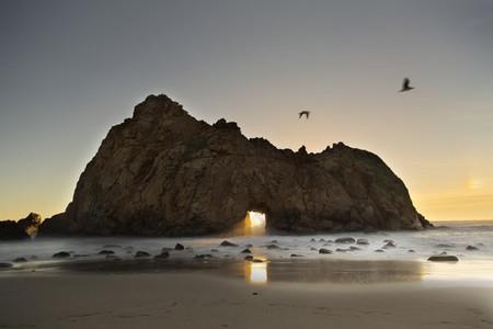 Pfeiffer beach at sundown