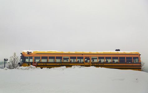 School bus in snow