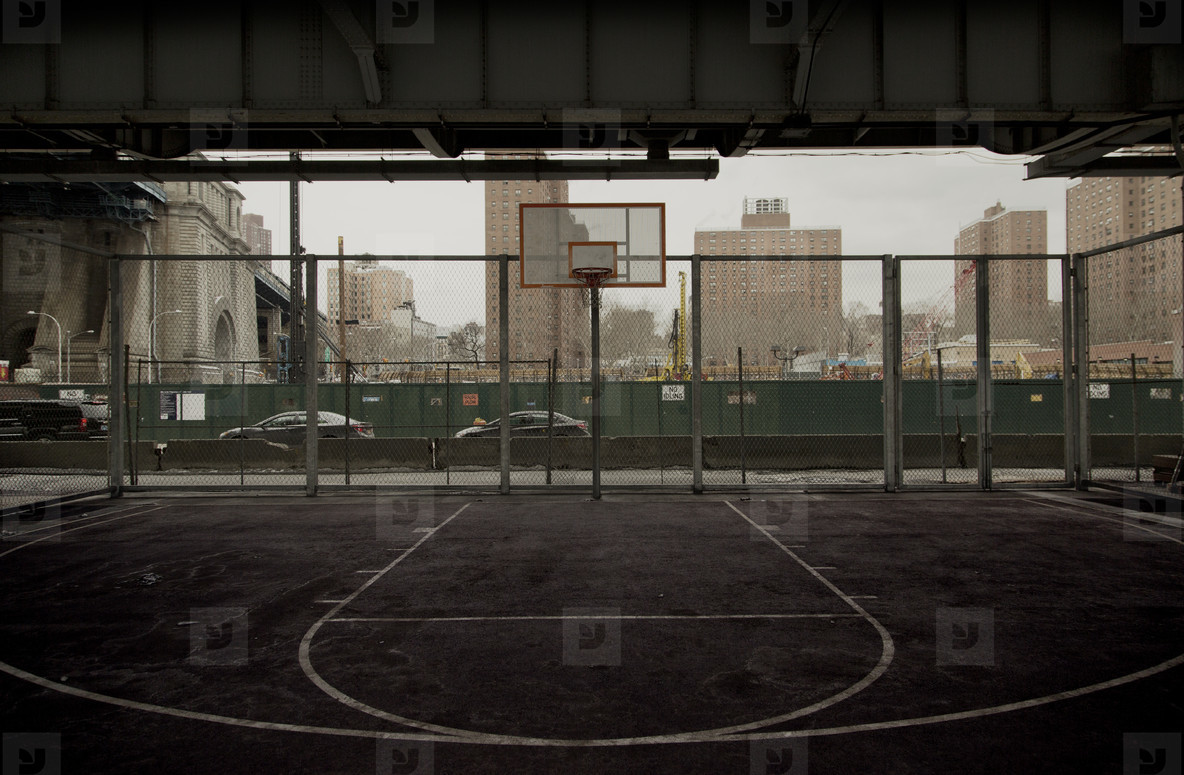 Basketball court under bridge