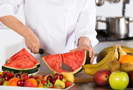 Chef with fruits
