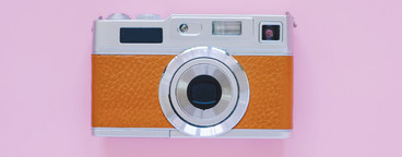 Vintage camera style on pink