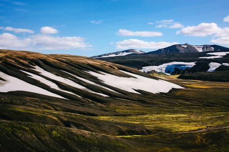 Landscape with moss and snow in Iceland Mountain tourism