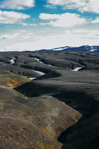 Landscape with moss in Iceland  Mountain and volcanic area