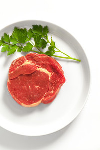 Raw steak on a plate