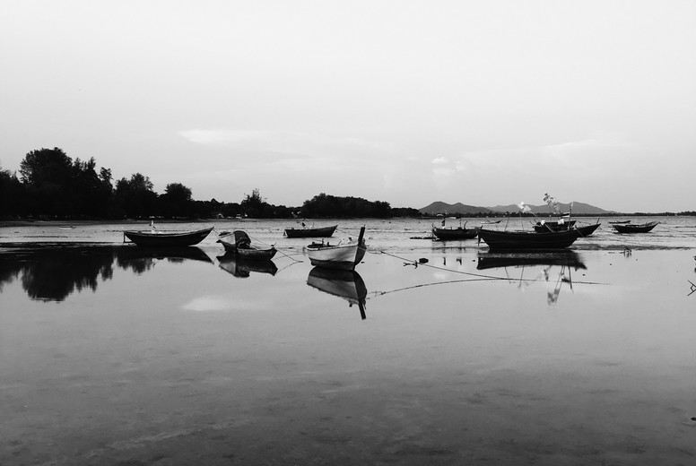 Silhouette image of fishing boat