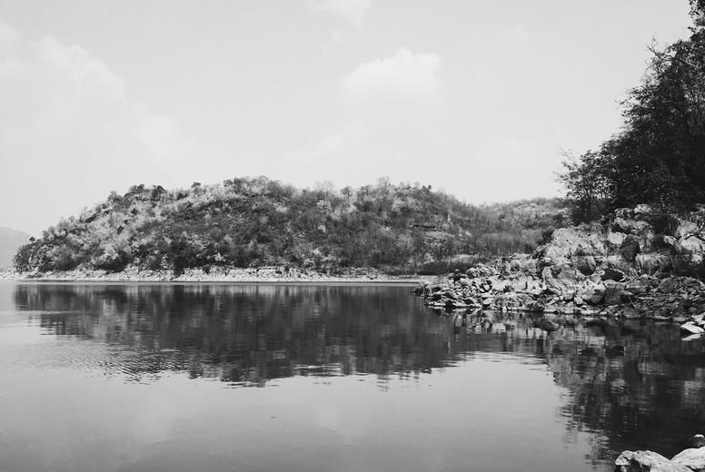 Black and white of lake