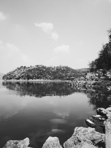 Black and white of lake