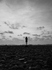 Silhouette of girl at dusk