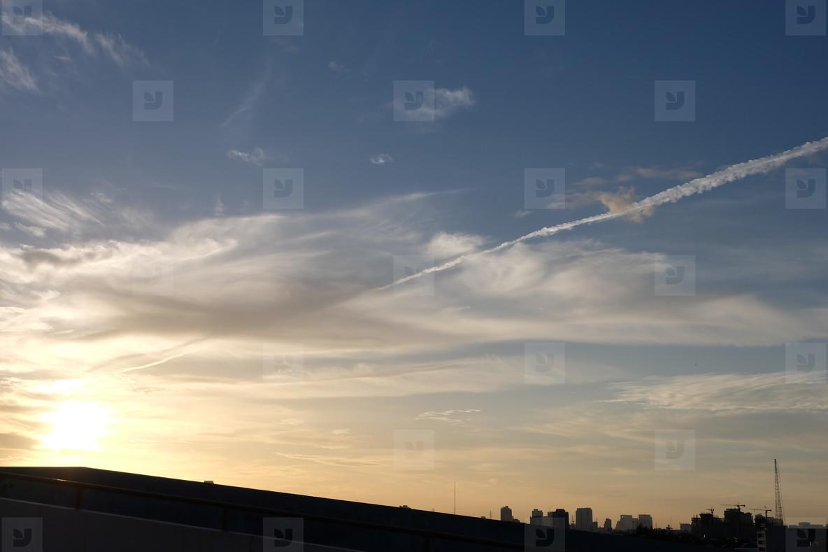 Sunrise colored clouds