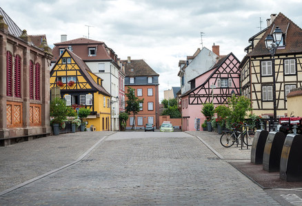 COLMAR  FRANCE   JUNE  20  Colorful timbered traditional french houses and empty road in Colmar  Alsace region  France
