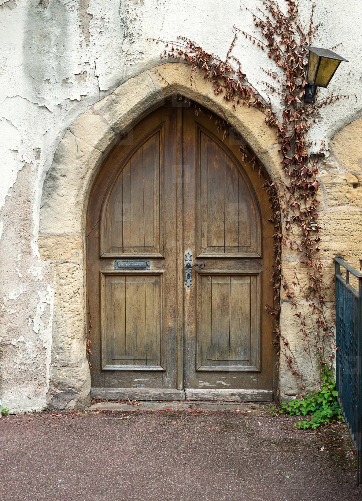 Old wooden door from medieval era found in Alsace region of France