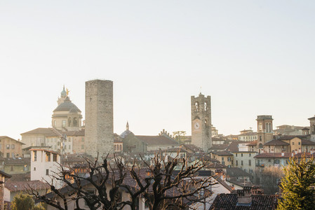 View over Citta Alta or Old Town buildings in the ancient city of Bergamo  Lombardia  Italy on a clear day