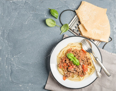 Pasta dinner  Spaghetti Bolognese in metal plate  with Parmesan cheese  grater and fresh basil over grey concrete background