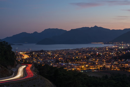 Evening view of Marmaris on Turkish Riviera from the road