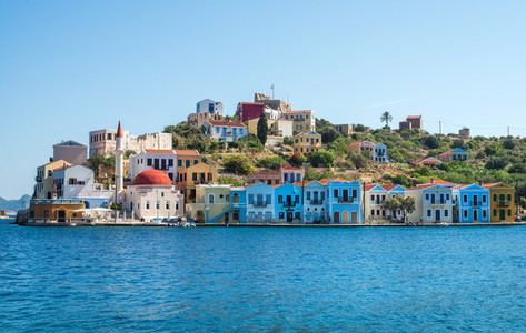 Kastellorizo island Dodecanese Greece Colorful Mediterranean architecture on a sunny clear day