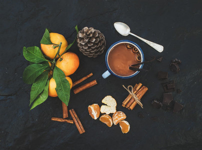 Christmas or New Year items  Fresh mandarins with leaves  cinnamon sticks  vanilla  pine cone and mug of hot chocolate over dark stone background
