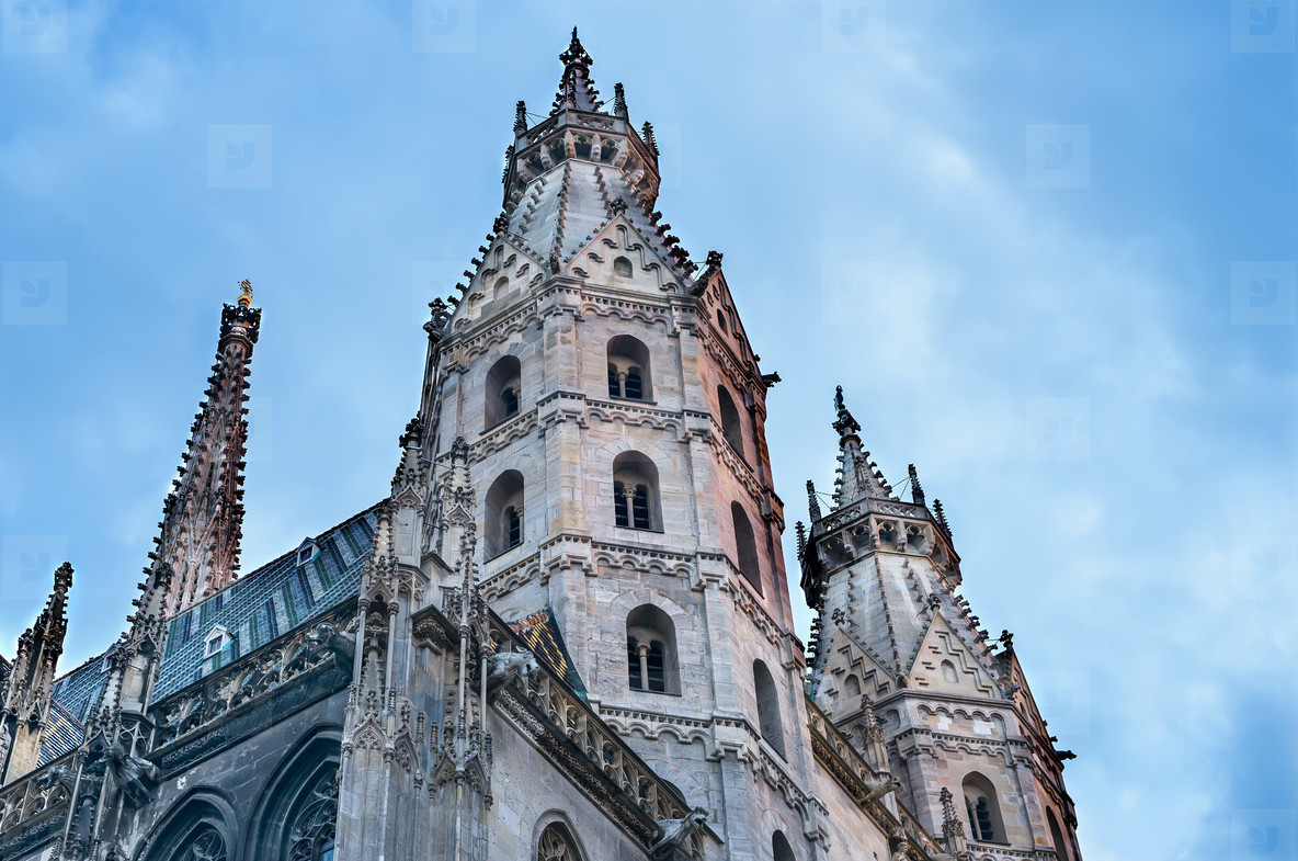 The facade of the St  Stephen s Cathedral in Vienna at the sunse