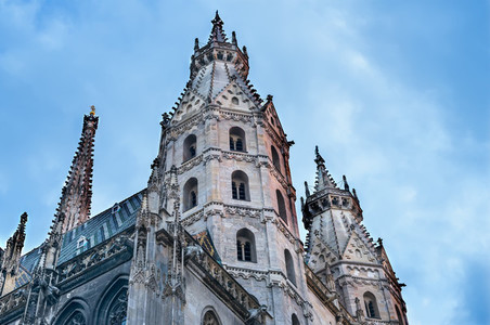 The facade of the St Stephens Cathedral in Vienna at the sunse