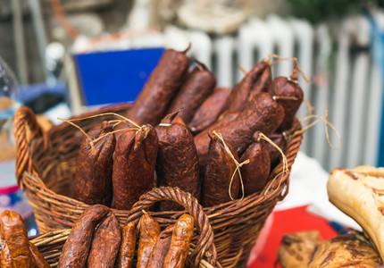 Homemade smoked sausage at a farmers  market