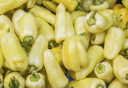 Fresh garden yellow paprica at a farmers market