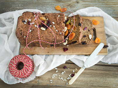 Home made whole grain Christmas bread with dried fruit  seeds an