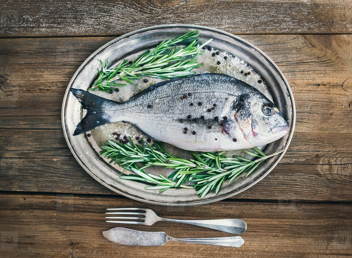 Fresh sea fish  sea bream  on a metal dish with rosemary and spi