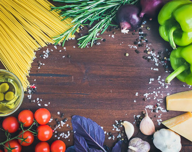 Vegetable pasta ingredients  spaghetti  pepprs  tomatoes  basil