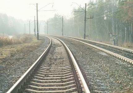Empty suburban railroad leading to the horizon on a sunny day
