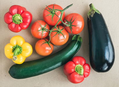 Vegetable set  ripe tomatoes  paprika  zuccini and an aggplant o