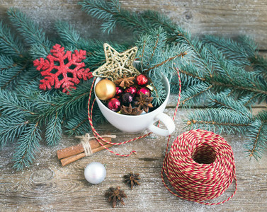 Christmas New Year decoration set a cup full of colorful Chri