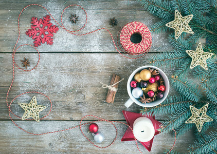Christmas  New Year  decoration background with a copy space  a