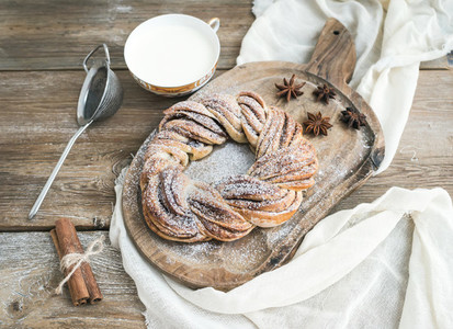 Village style breakfast set  sweet cinnamon ring bread and a cup