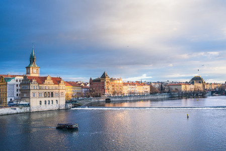 The view from the Charles bridge over the Vltava river Smetana