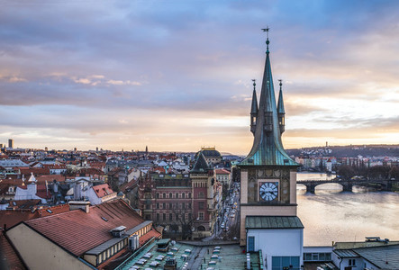 View from the top of the Charles bridge tower over the old town