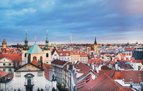 The view over the red roofs of Stare Mesto district in Prague  C