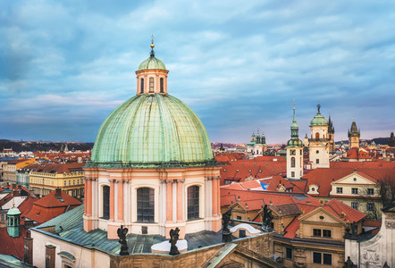 The view over the dome of Saint Francis of Assisi church and red