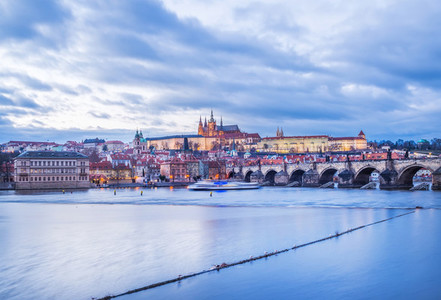 Evening view of the old Prague castle  Charles bridge and Mala Strana side