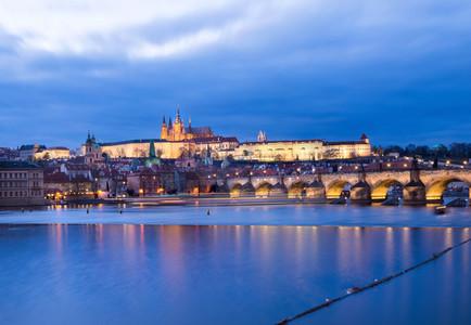The view of the Prague castle  Charles bridge and the Vltava riv