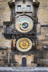 Medieval Astronomic clock  Orloj  on the Old Town Hall tower at